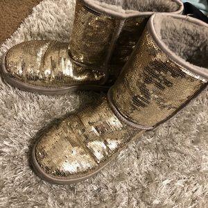 Women's gold glitter UGG boots